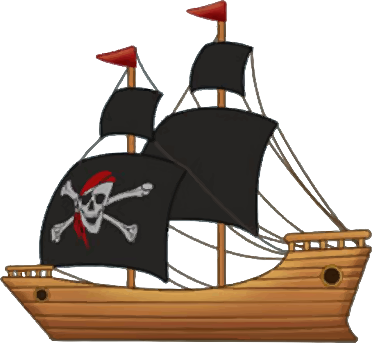 Pirate ship with skull of sail